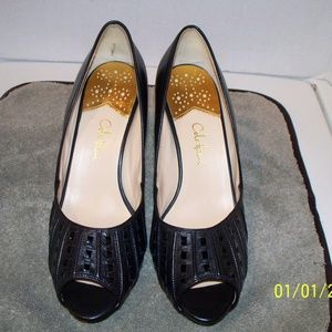 Cole Haan Black Leather Pumps Open Toe Size 9.5B